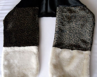 Multi Colour Faux Fur Scarf in Leopard Print, Ivory and Black Fur