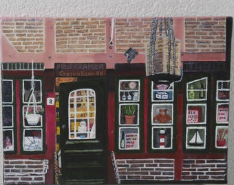 Hamburg, Bäckerbreitergang, old grocery, Oil painting