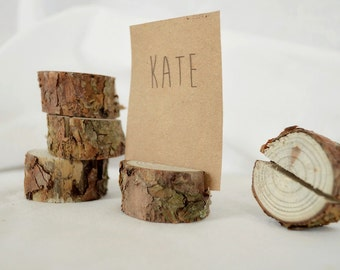 10 pieces rustic pine tree place card holders, Wedding card holders, name card holders, wooden table card holders, rustic holders with bark