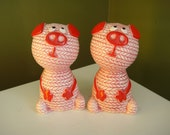 Vintage Salt and Pepper Shakers - Pink Pigs - Made in Japan - Epsteam