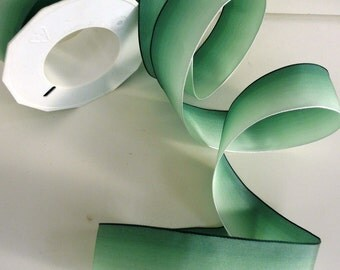 """5 Meters (5.4 yards) of Ombre French Wired Ribbon // Shaded Grass Green // 1.5"""" wide (3.5 cms)"""