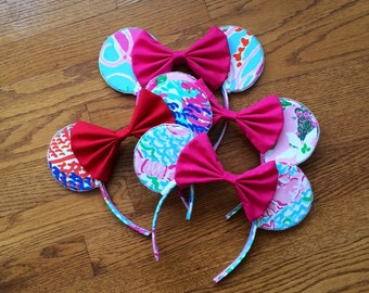 65+ Lilly Prints Available - Lilly Pulitzer Ears Headband -perfect for a trip to Disney with minnie and mickey