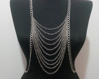 Silver Body Chain, Necklace,silver long necklace,body necklace,body chain,christmas gift