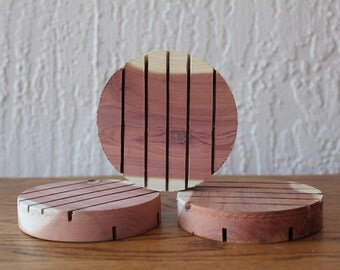 All Natural Round Cedar Soap Dish