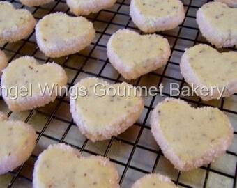 Lavender Shortbread Cookies 2 dozen Bite Size Wedding Cookies,Heart Shaped Gourmet Shortbread Cookies,Mother's Day Cookies