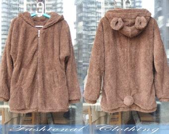 large size pink brown coat Hoodie winter coat spring autumn coat warm coat women clothing women coat long sleeve coat jacket outerwear