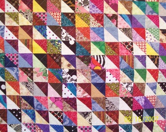 Queen Size Quilt  Multi Colored Triangles Queen Quilt