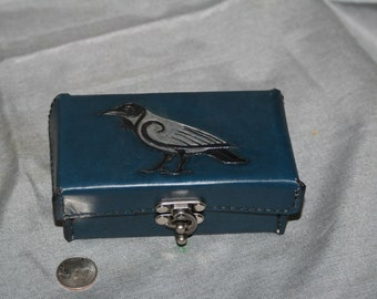 Celtic Raven Blue Leather Box