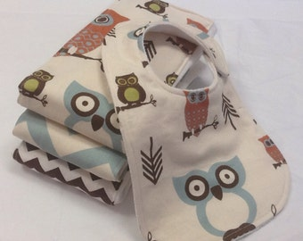 Set of 3 handcrafted baby burp cloths and bib with owls and light blue and brown chevron