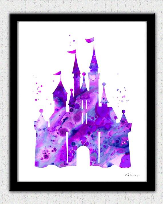 Purple Cinderella Castle Print