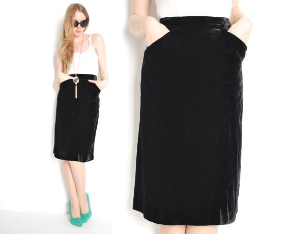 40s skirt pencil skirt black velvet velvet skirt high