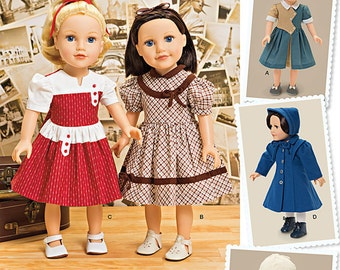 "Simplicity Sewing Pattern 1245 Vintage Style 18"" Doll Clothes"