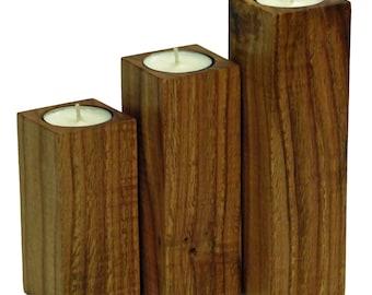 Set of 3 Solid Chestnut Tea Light Pillars
