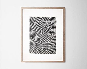 Lines - Linocut - Engraving - Art poster - Graphic design