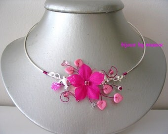 fancy necklace handcrafted jewelry fuchsia pink crew neck fuchsia Birds