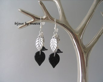 Black jewelry earrings dangling black and silver foliage