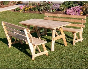 Red Cedar Backed Bench 4ft. Picnic Table Set