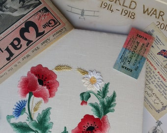 Transfered Embroidery Kit: Flanders Poppy *A MASTERCLASS IN SHADING* Beautiful Kits By Maggie Gee Needlework