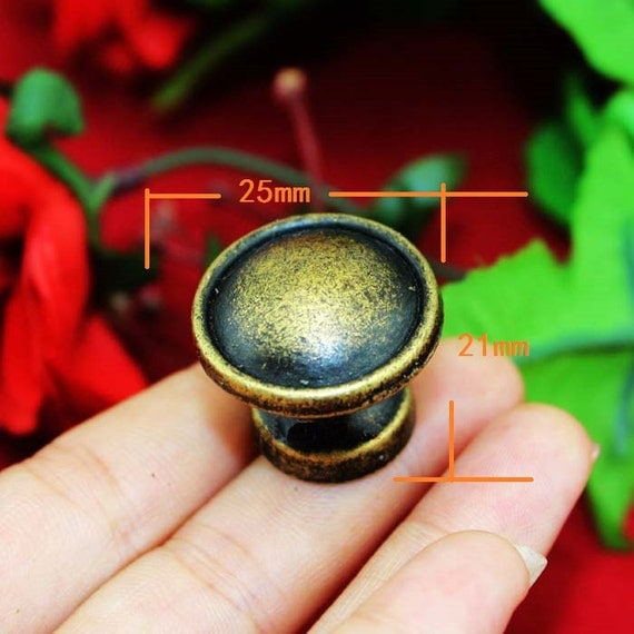1 or 10 ancient round knobs meta bronze drawer pulls for Knobs for bureau
