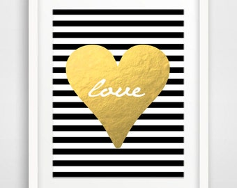 Digital Download Gold Foil Heart Printable / Digital Download/ INSTANT