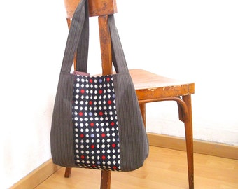 shopping bag, fabric tote, large tote bag, diaper bag, boho style, japanese bag, gift ideas for her