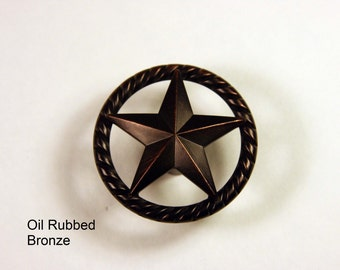 Western Style Raised Star Knob - Available in 4 Finishes