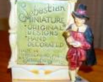 Vintage Sebastian Miniature Store Logo Advertising Sign Figurine made in Marblehead MASS
