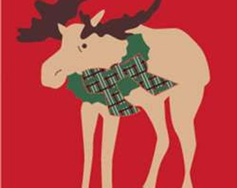 Christmas Moose Handcrafted Applique House Flag