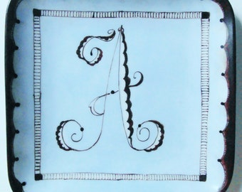 Hand Painted China Plate - Art Nouveau Style Initial - A