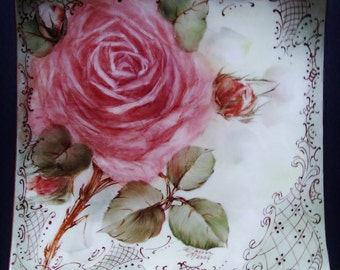 Hand Painted Porcelain Plate - Rose and Scrolls