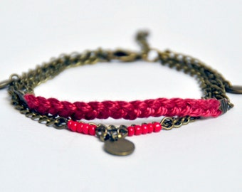 Bracelet shuttle color Raspberry... (brass bronze and cotton braided)