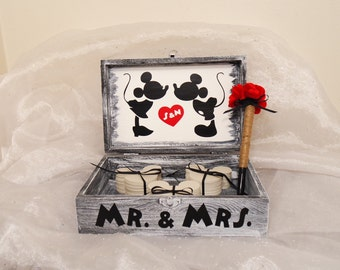 Unique Wedding Guest Book, Wedding Guest Book Alternative,  Mickey and Minnie Mouse Wood Guest Book,  Wedding Guest Book, Disney Guest Book