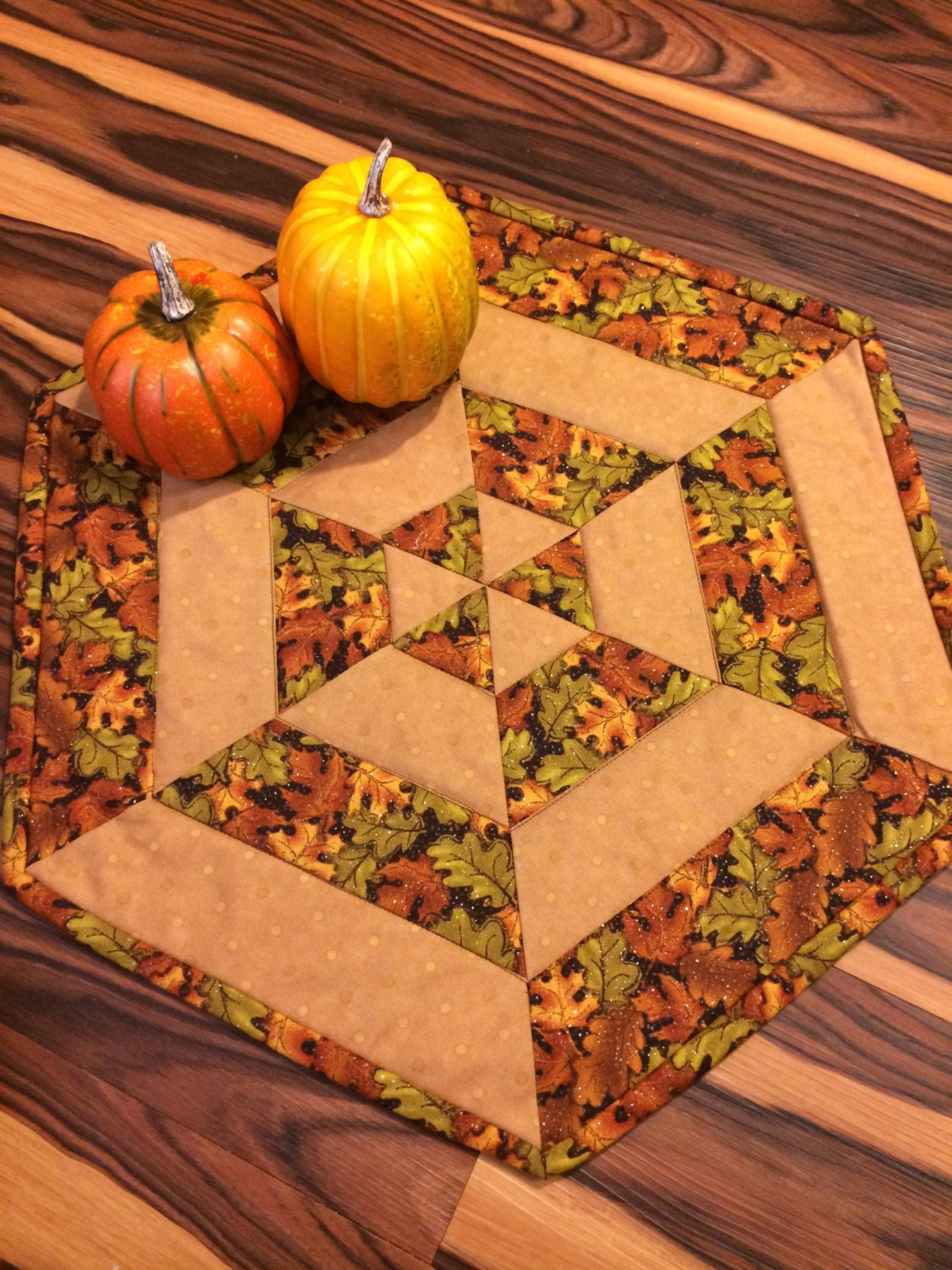 Fall leaves quilted centerpiece table topper