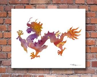 Chinese Dragon Art Print - Abstract Watercolor Painting - Wall Decor