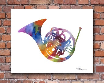 French Horn Art Print - Abstract Watercolor Painting - Wall Decor