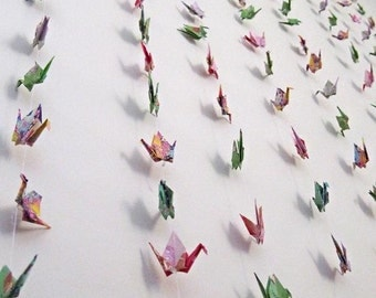 Origami Paper Crane Garland, Wedding Backdrop Decoration, Origami Crane Hanging, Paper Birds Photo Prop, Birds on Strings