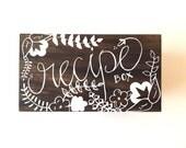 Floral Recipe Box, Monogram, Personalized (vinyl)