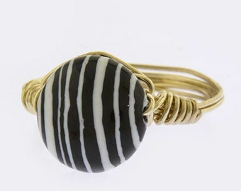 black and white stone wire wrapped ring size 8