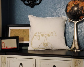 Antique Telephone Pillow Cover Hand Embroidery Old Hollywood Glamour Metallic Gold Rotary Telephone Accent Pillow Sham Retro Pillowcase