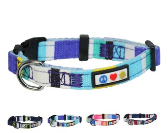 Polyester Small Dog Collar 5/8 Inch, Blue, White and Purple