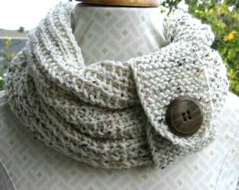 Knit oatmeal cowl with button, boho neckwarmer, infinity scarf or cowl neck accessory, winter fashion accessory,  cowl with vintage button