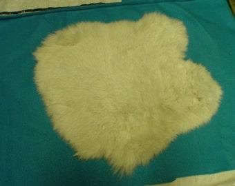 "OFF WHITE rabbit pelt 12"" x 13"" tanned fur/skin- crafts, fly tying, cabin decor, etc RP-1"