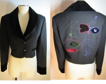 "Vintage Cropped Didier Parakian Tuxedo Jacket Size 8 ""Evil Eye"" Embroidery"