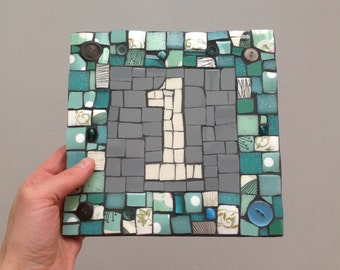 Square Mosaic House Number