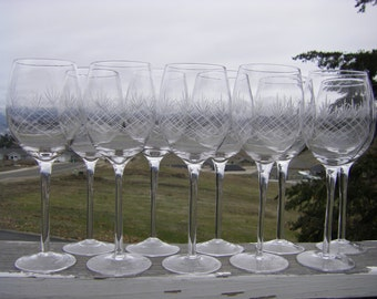 """Hand Blown, Hand Etched Goblets or Wine Glasses, 9"""" Tall, Set of 10"""