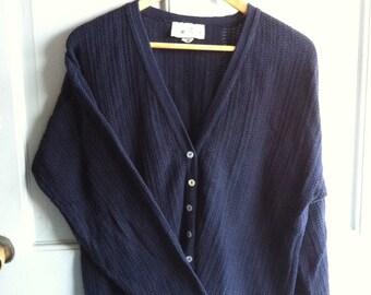 Vintage Blue Cotton Knit Sweater