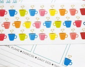 30 Heart Coffee Mug Stickers! Perfect for your Erin Condren Life Planner, Filofax, Plum Paper & other planner or scrapbooking! #SQ00239