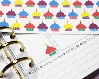 30 Birthday Cupcake Stickers! Perfect for your Erin Condren Life Planner, Filofax, Plum Paper & other planner or scrapbooking! #SQ00260