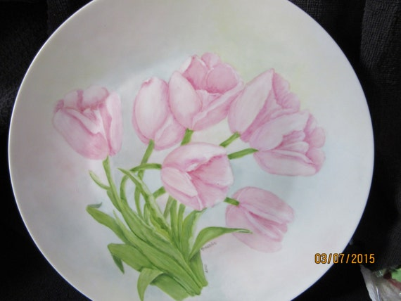 Cake Plate, Pink Tulips 12 inches diameter, Serving Kitchen Trends, Porcelain Ceramic Pottery, Hand Painted and Kiln Fired by B. Marsh