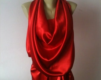 Maxi Prom  satin dress in Vivienne Westwood style/Formal halter Red dress